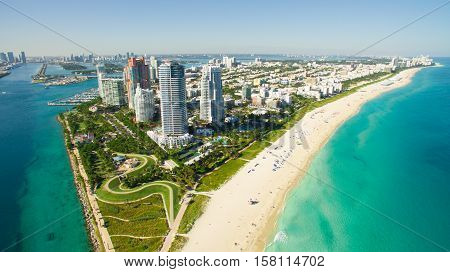 South Beach, Miami Beach. Florida. Aerial view. Paradise. South Pointe Park and Pier poster