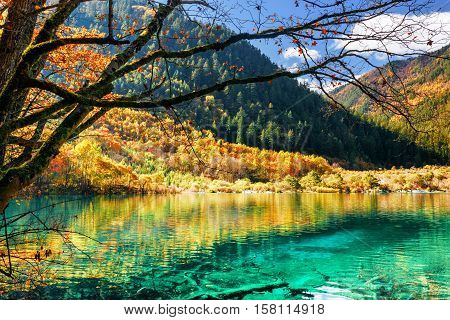 Azure Water Of Lake Among Fall Woods, The Shuzheng Valley