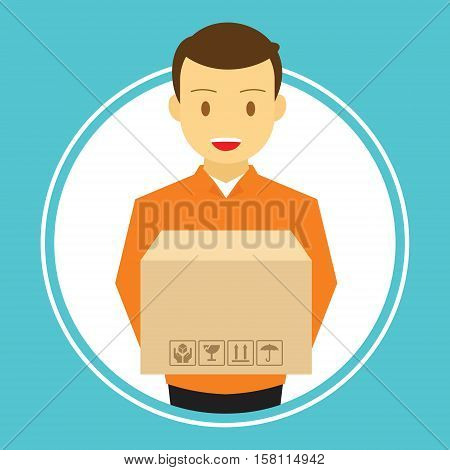 man courier delivery service carry box vector illustration
