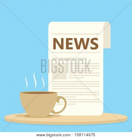 morning newspaper with coffee or tea vector illustration