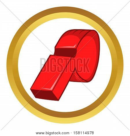 Red sport whistle vector icon in golden circle, cartoon style isolated on white background