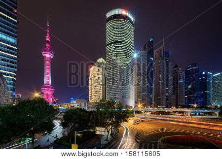 Night View Of The Oriental Pearl Tower And Other Skyscrapers