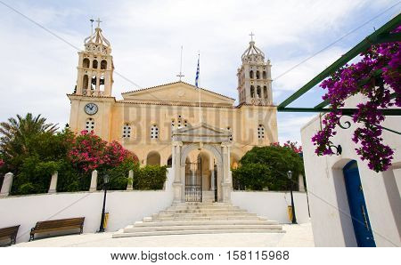 Greek Island Agia Triada Church in Lefkes village Paros Island Cyclades Greeece