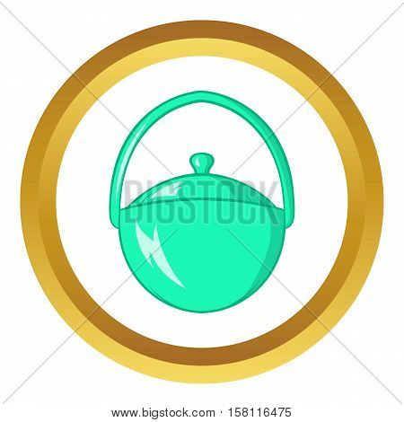 Bowler for food vector icon in golden circle, cartoon style isolated on white background