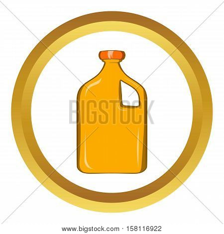 Packaging for engine oil vector icon in golden circle, cartoon style isolated on white background