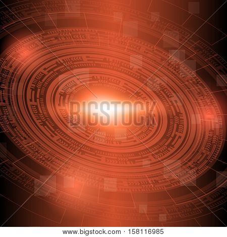 Abstract dark red technology background, stock vector