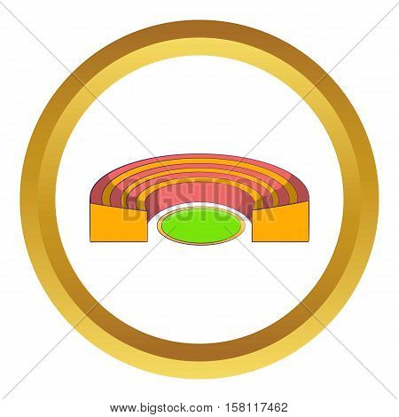 Semicircular stadium vector icon in golden circle, cartoon style isolated on white background