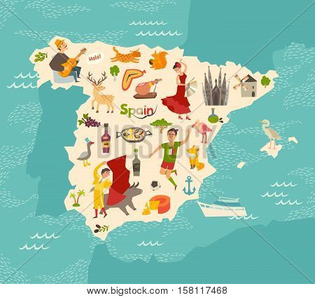 Travel Map Of Spain.Spain Map Vector Vector Photo Free Trial Bigstock