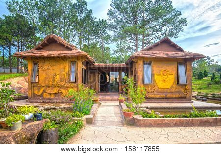 Lam Dong, Vietnam - August 1st, 2016: Amazing house of clay at the Dalat Star site among green woods. This is a popular tourist destination architectural only in Lam Dong, Vietnam