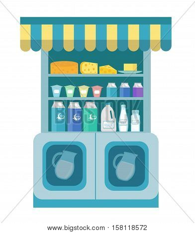 Milk products showcase, dairy shelf in the store. Supermarket, dairy department. Cheese and milk. Vector illustration