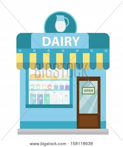 Shop with dairy products. Dairy shop building icon. Milk Shop flat style. Showcases stores on the street. Vector illustration