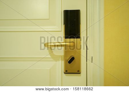close up hotel luxury doorknob for entrance