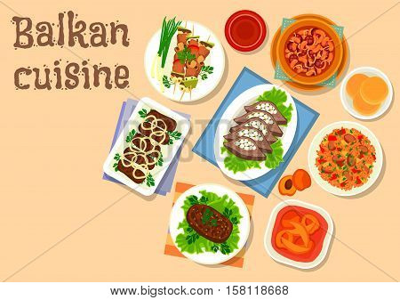 Balkan cuisine grilled pork and vegetable on skewer icon with bean stew with sausage, pork and beef cutlet, meat tomato rice, stuffed beef liver with bacon, baked beef cutlet, apricot fruit dessert