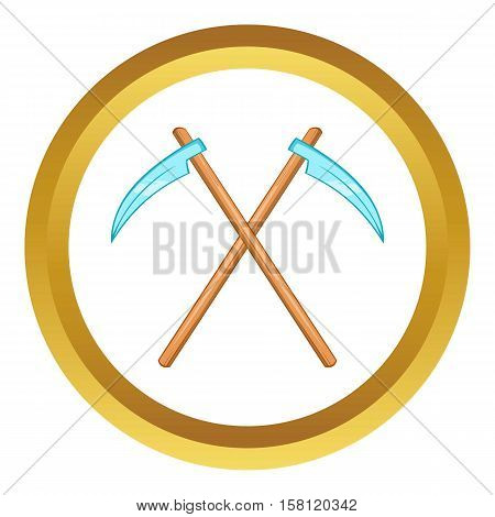 Death scythe vector icon in golden circle, cartoon style isolated on white background