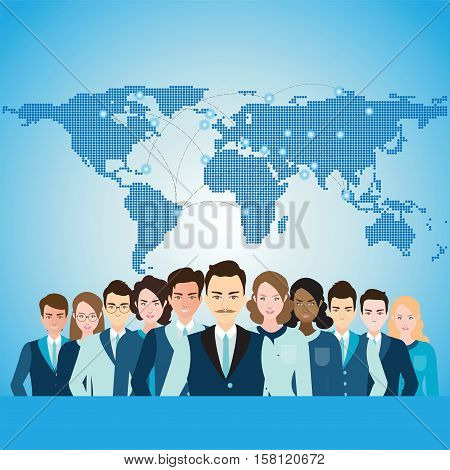 Global Business People with World Map Diverse people character business conceptual flat design vector illustration.