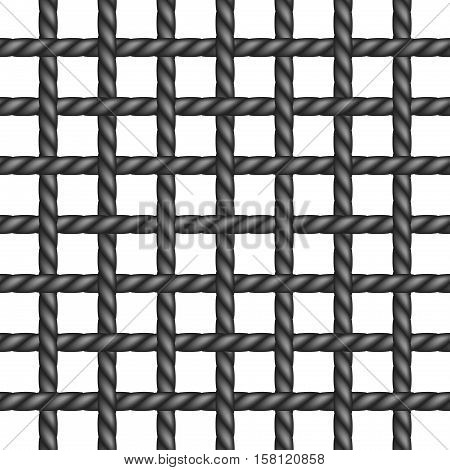 Net of rope in black design on white background