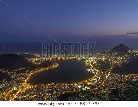 Brazil City of Rio de Janeiro Corcovado Elevated view of the Rodrigo de Freitas Lagoon. poster