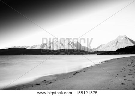 Black and white Norway seashore mountain landscape background hd