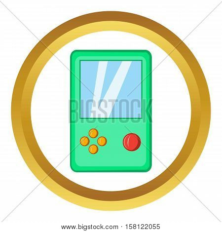 Tetris vector icon in golden circle, cartoon style isolated on white background