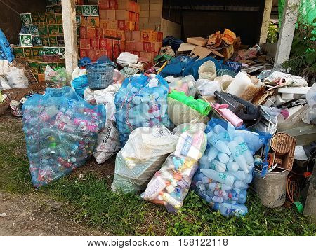 CHIANG RAI THAILAND - NOVEMBER 23 : plastic bottles waste in big plastic bags at recycle center on November 23 2016 in Chiang rai Thailand.