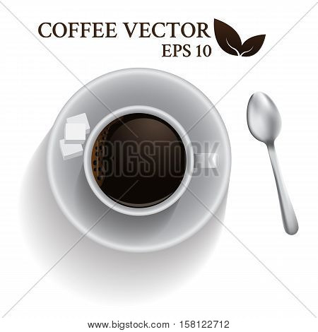 Top view a cup of coffee with spoon and cube sugar. espresso coffee shot isolated on white background. vector illustration.