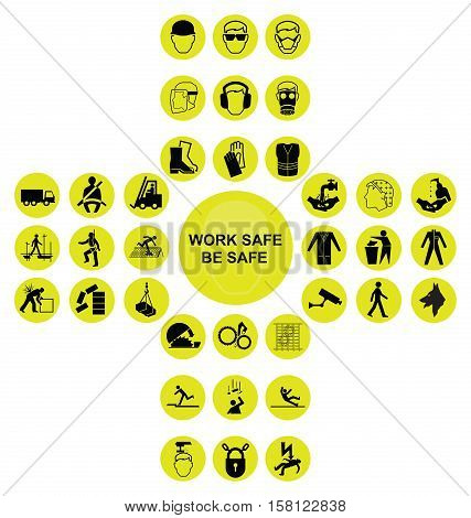 Yellow construction manufacturing and engineering health and safety related cruciform icon collection isolated on white background with work safe be safe message