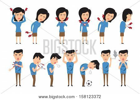 Health care concept vector illustration. Man and woman with symptoms sick in various pose. headache chest pain neck pain etc. vector illustration.