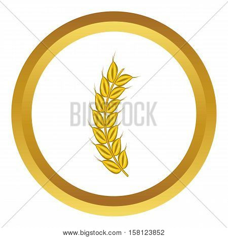 Stalk of ripe barley vector icon in golden circle, cartoon style isolated on white background