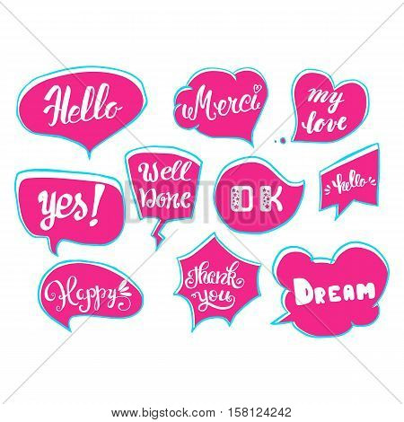 Vector set of comic speech bubbles. Hand drawn set of comic quotes balloons with text