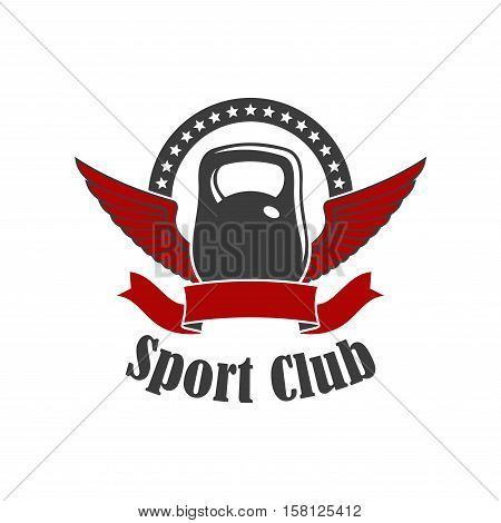 Sport club symbol with winged kettlebell, encircled by wavy ribbon banner and arch of stars. Kettlebell lifting sport, fitness club, gym badge design