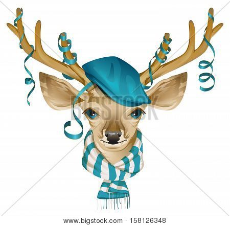 Christmas deer head in blue fashionable hat and striped scarf. Isolated on white vector illustration