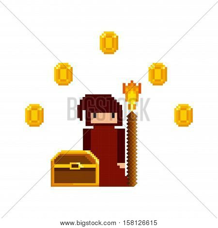pixel character of videogame with gold coins around and treasure box over white background. Video game interface design. Colorful design. vector illustration