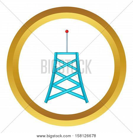 Wireless connection tower vector icon in golden circle, cartoon style isolated on white background