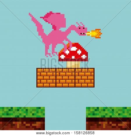 pixel dragon throwing fire and fungus icon over landscape landscape. video game interface design. colorful design. vector illustration