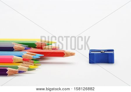 The sharpener pencil and color pencils group that the one blunt red pencil nearly sharpener. Conceptual Arts