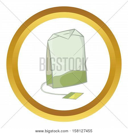 Teabag of green tea vector icon in golden circle, cartoon style isolated on white background