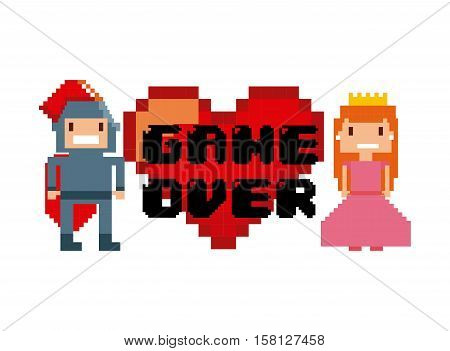 princess and knight characters and red heart with game over word over white background. videogame interface concept. colorful design. vector illustration