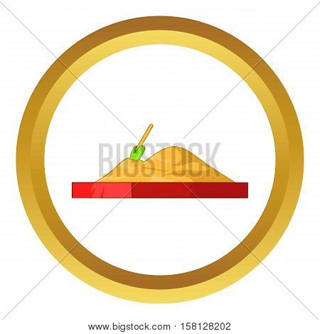 Children sandpit vector icon in golden circle, cartoon style isolated on white background