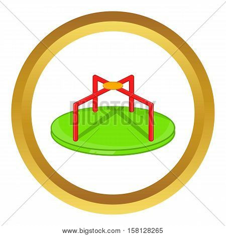 Round teeter vector icon in golden circle, cartoon style isolated on white background