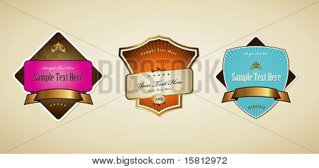 Set of labels with ribbon. Vector