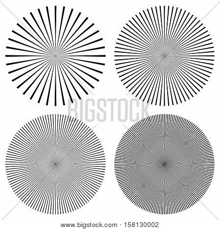 Radial Lines, Rays, Beams Circular Pattern. Sunburst, Starburst With Concentric Irregular Lines