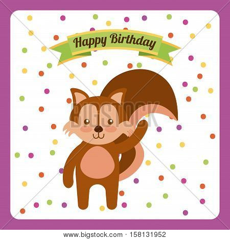 happy birthday card with cute chipmunk. colorful design. vector illustration