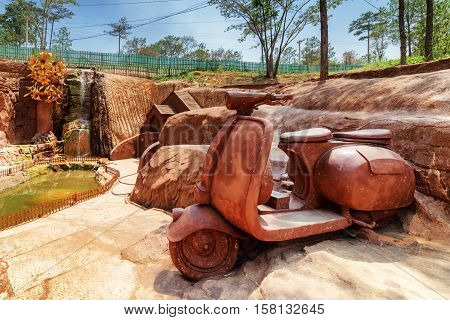 Big Clay Sculpture Of Scooter In The Dalat Star Place