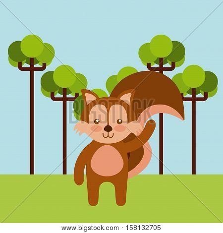 cute chipmunk animal over landscape background. colorful design. vector illustration