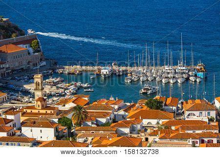 Top view of yacht marina at Hydra island, Aegean sea, Greece.