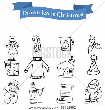 Icon of holiday theme set collection stock