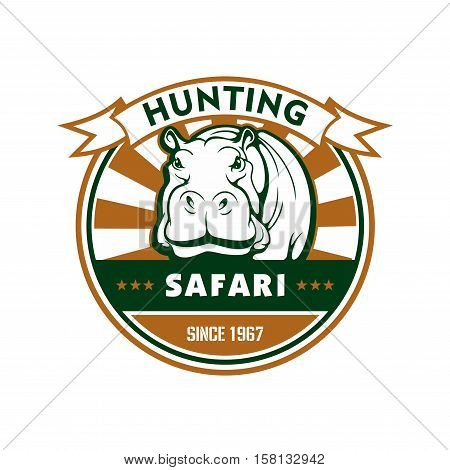 Hunting sport and african safari symbol. Hippo, framed by round badge with ribbon banner and star. Safari trip, outdoor adventure and hunting sporting club design