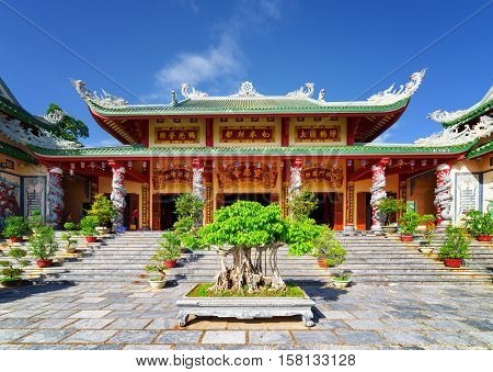 Main View Of The Linh Ung Pagoda On Blue Sky Background, Danang