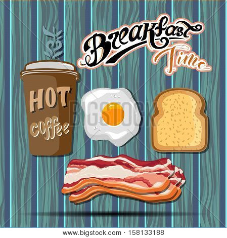 Classic breakfast motel advertisement retro poster with bacon toast and fried eggs vector illustration. EPS 10