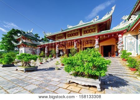 Amazing View Of The Linh Ung Pagoda On Blue Sky Background